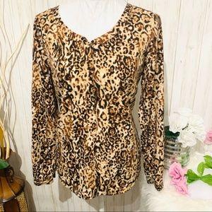 Merona cheetah print long sleeve blouse